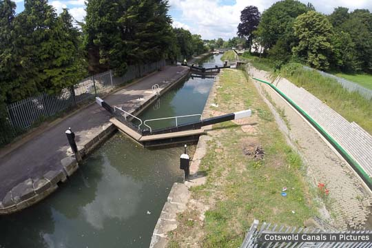 Dudbridge Upper Lock, with the bypass channel to the right