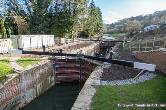 Ham Mill Lock with the restored brickwork virtually complete and gates fitted