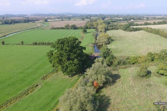 Occupation Bridge & Oil Pipeline at Whitminster.  View towards Saul.