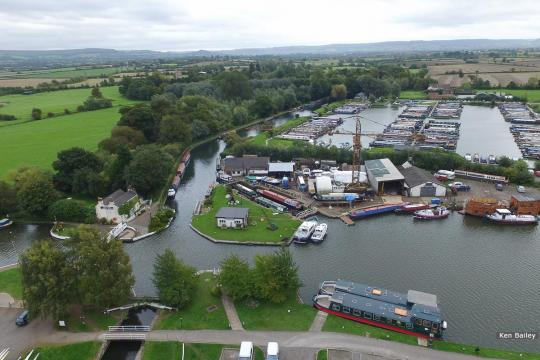 Saul Junction & Marina.  Stroudwater Naviagtion to left of Marina