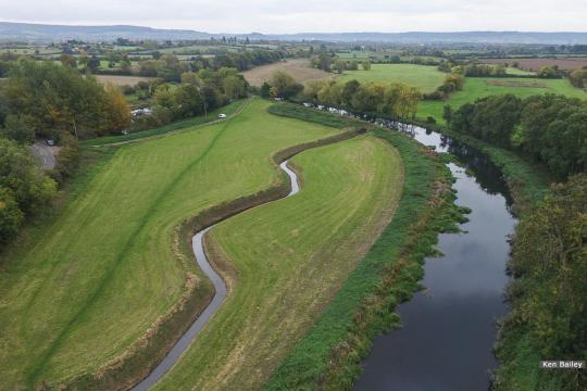 View from above Walk Bridge looking towards Whitminster Lock / M5