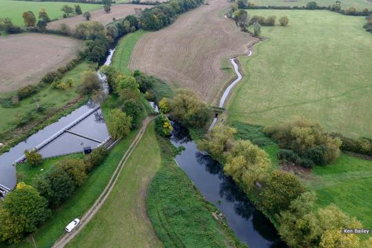 Whitminster Lock (left of picture centre). View towards M5.