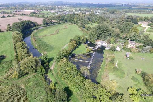 Whitminster Lock & bridge site (left of bottom centre). View towards Saul